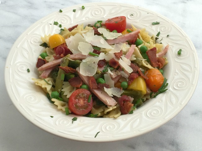 Farfalle With Ham, Peas, Asparagus And Greens