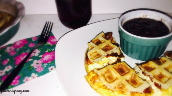 Waffle Breakfast Casserole With Sweet Maple Bacon Syrup