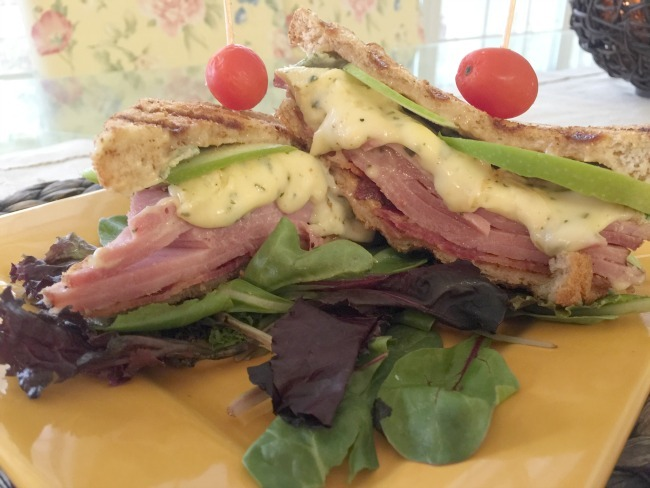 Grilled Ham, Brie And Apple Sandwich With Spicy Cranberry Mustard