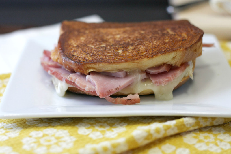 Ham And Brie Grilled Cheese With Pineapple Mascarpone Spread