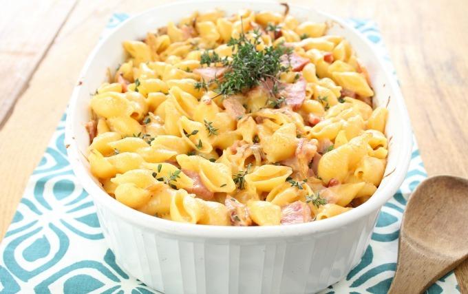 Ham And Garlic Cheddar Pasta Bake