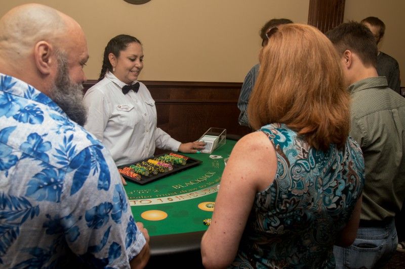 Volt Employees and Guests enjoying the Blackjack table.