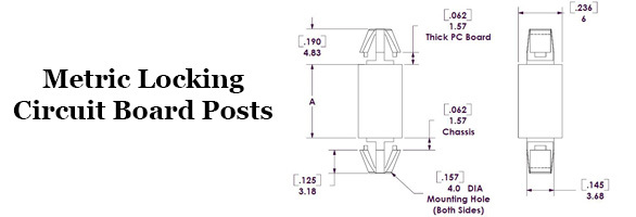 Metric Locking Circuit Board Posts