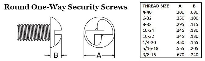 Round One-Way Security Screws