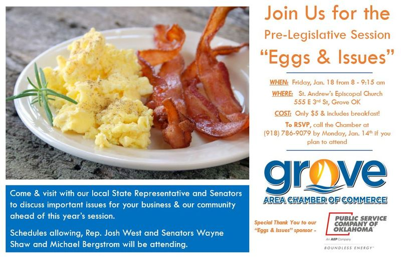 GROVE CHAMBER TO HOST EGGS & ISSUES BREAKFAST