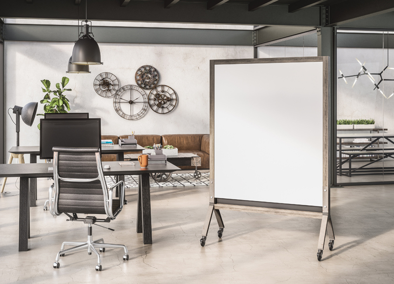 MIX Industrial Full Height Mobile with Rustic Wood Stain Finish