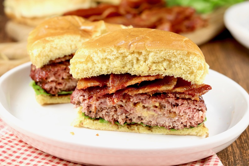 Epic Ham And Cheese Stuffed Bacon Burger