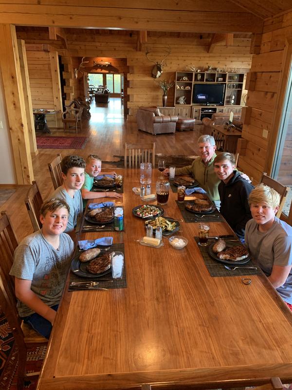Kids and grandpa, Lodge life, Steak dinner at The White River Inn