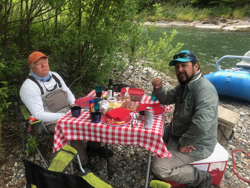 Jim Kever and guide Rodrigo, lunch in Patagonia is a big deal!