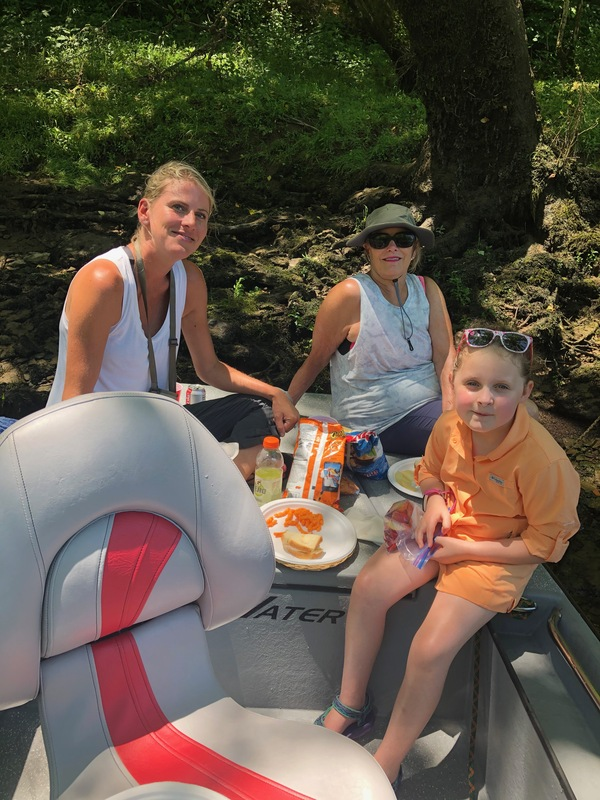 My girl have ing a little river lunch,