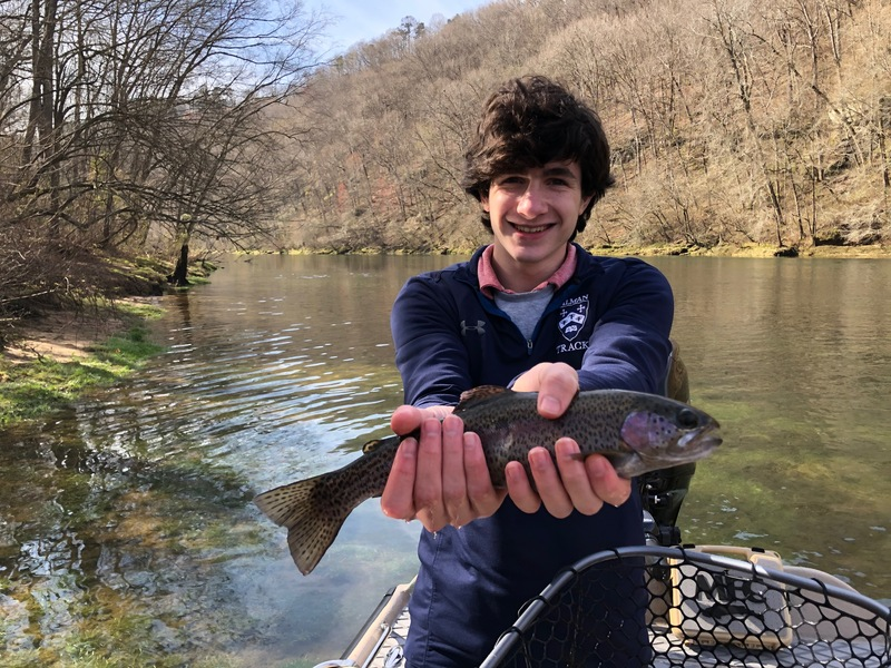 James with a beautiful Little Red River Rainbow.