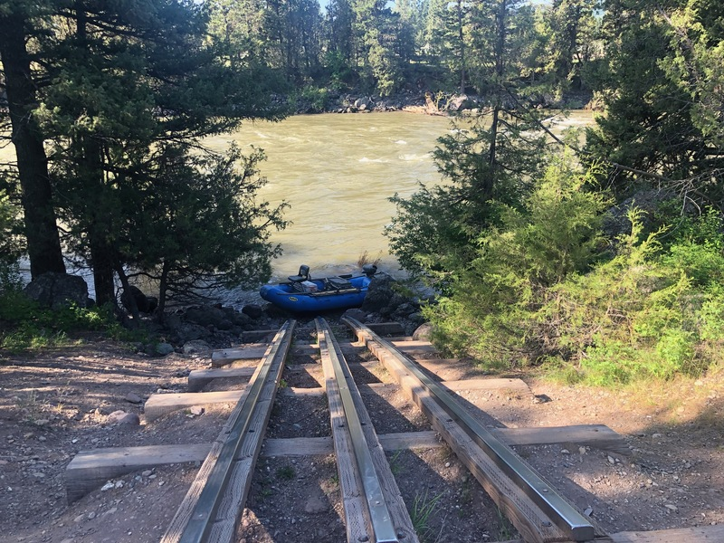 Quite a raft launch on the Blackfoot River