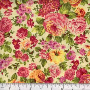 Vintage PolyCotton Fabric PINK GOLD Rose DITZY Floral Flower Reduced Prices NEW